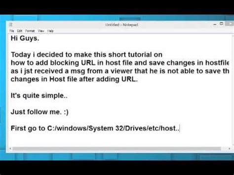 url host how to add edit url into system s host file youtube