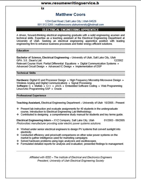 engineering resume writing services electrical engineering apprentice resume sle resume