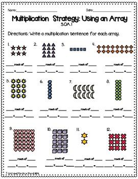 Arrays Worksheets by Multiplication Using Arrays Worksheets By Skills And