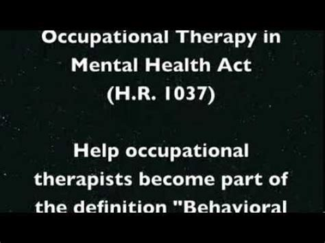 what is therapy in mental health occupational therapy in mental health
