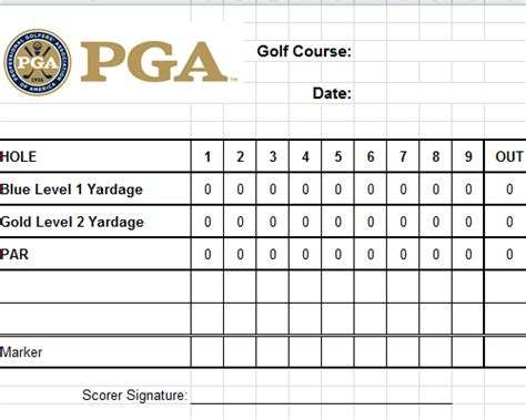 web golf score cards template golf scorecard template excel