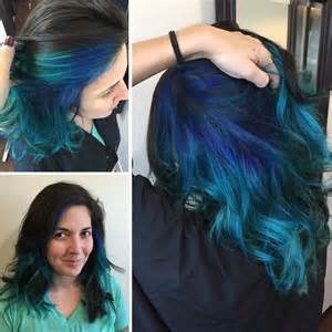 hairstyle with color underneath darkest brown blue underneath hair colors ideas