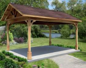 Red Cedar Gable Roof Open Rectangle Gazebos with Metal Roof   Gazebos by Available