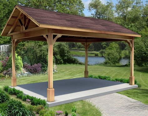 red cedar gable roof open rectangle gazebos  metal