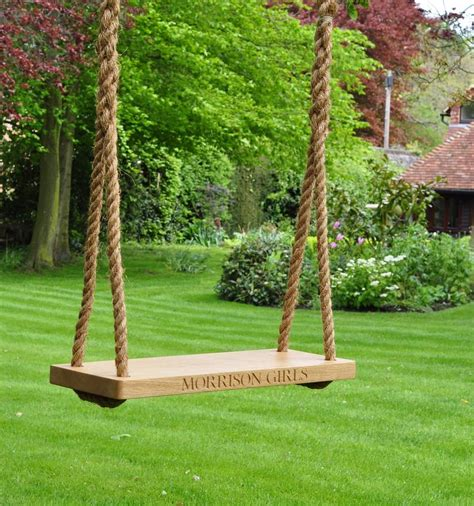 large swing personalised large oak swing by the oak rope company