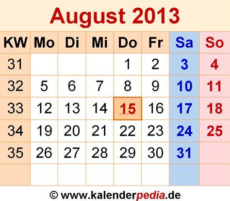 Calendar August 2013 Kalender August 2013 Als Excel Vorlagen