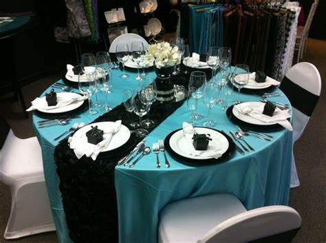 Tiffany Blue & Black Themed Wedding Table Setting   Avalon