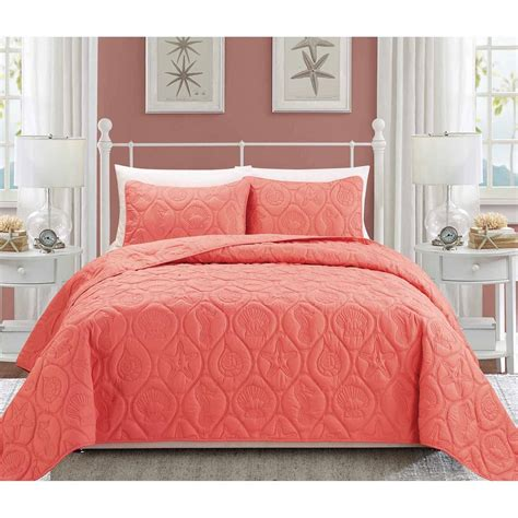 coral bedding sets mainstays coral damask bed in a bag complete bedding set