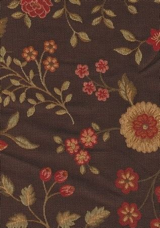 mirabilis chocolate brown red floral upholstery fabric