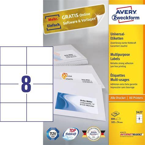 Word Vorlage Etiketten 105 X 74 universal etiketten 3427 avery zweckform
