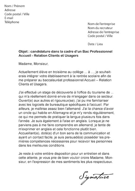 Lettre De Motivation Stage Office Tourisme Lettre De Motivation Bac Pro Arcu Mod 232 Le De Lettre
