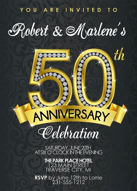 50th Anniversary Invitation, Diamond Black and Gold Party