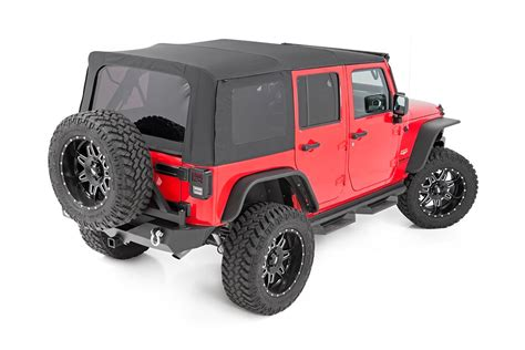 jeep soft top black jk door jcr offroad aluminum rear half doors for jeep