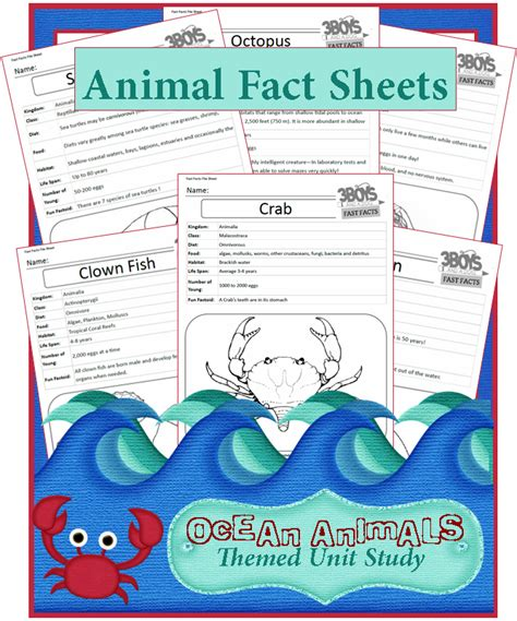 printable animal information sheets facts about ocean animals unit study series 3 boys and