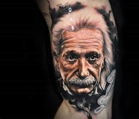 portrait tattoo of albert einstein by benjamin laukis no