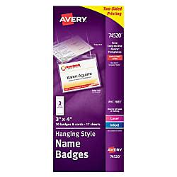 Avery Hanging Name Badge Kit 3 X 4 Box Of 50 By Office Depot Officemax Staples Id Badge Kit Template