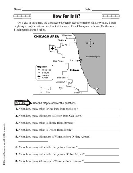 Using Scale On A Map Worksheet by All Worksheets 187 Calculating Distance Using Map Scale