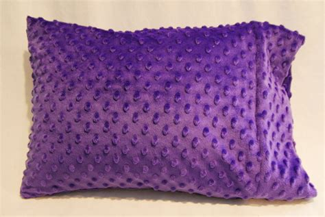 Travel Size Pillow Cases by Travel Crib Toddler Size Pillow Purple Minky Dimple