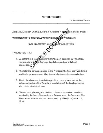 Rent Undertaking Letter notice to quit canada templates agreements