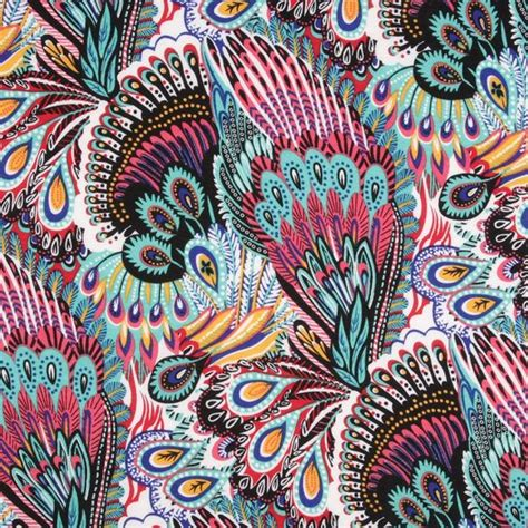 peacock knit fabric desert peacock inspired polyester jersey knit fabric