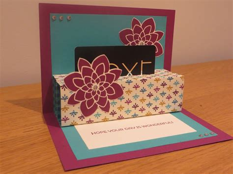 Gift Card Carrier - craftycarolinecreates pop up gift card holder tutorial using crazy about you from