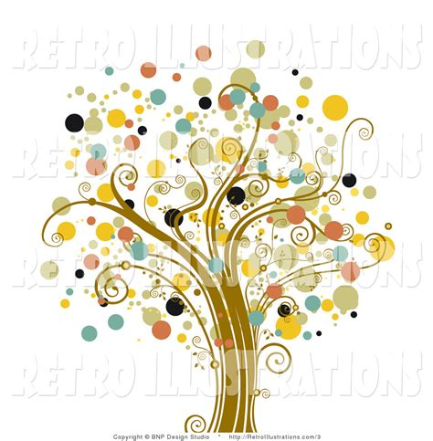 retro tree retro illustration of a tree with orb dot foliage by bnp