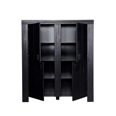 Black Wood Storage Cabinet With Doors Fable Wooden Storage Cabinet In Black With 2 Doors 28211