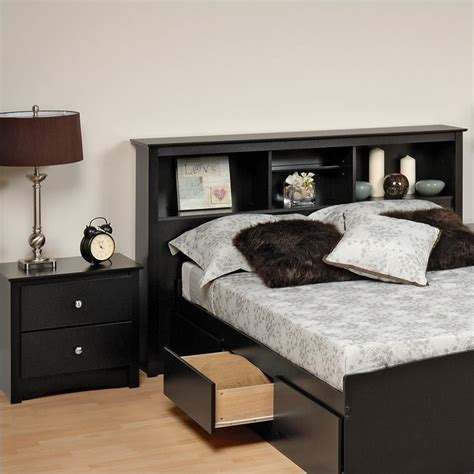 prepac sonoma black wood bookcase headboard 2 bedroom set ebay
