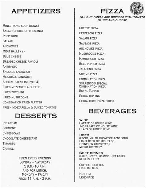 menu for dinner sorrento dinner menu