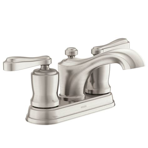 moen bathroom sink shop moen belhurst spot resist brushed nickel 2 handle 4