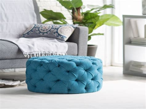 Round upholstered ottomans, tufted footstool round tufted