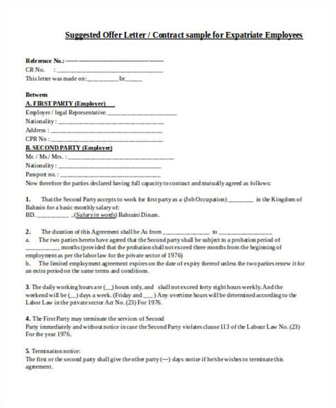 Offer Letter Or Contract 30 Sle Contract Agreement Forms