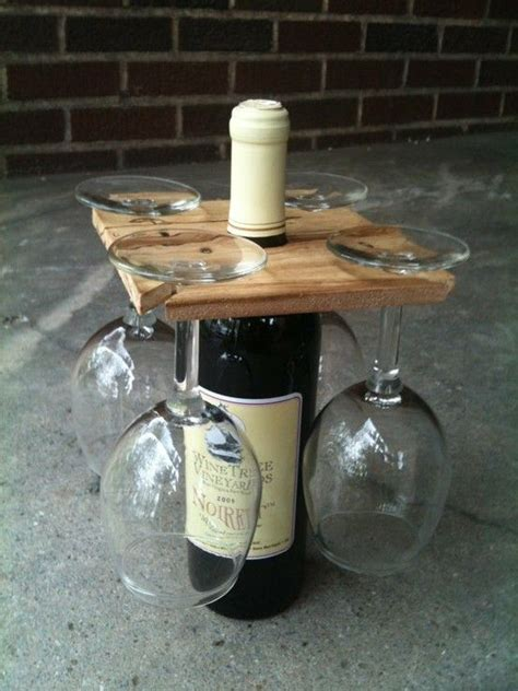 good housewarming gift wood wine glass and bottle holder party for four