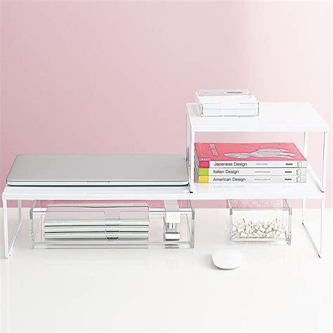 corner desk riser desk riser franklin desk risers the container store