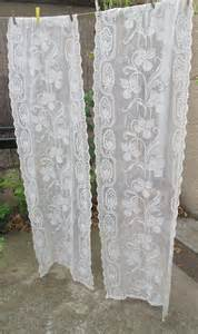 Vintage Curtains And Drapes Ecru Vintage Lace Curtains Cream French By Hatchedinfrance