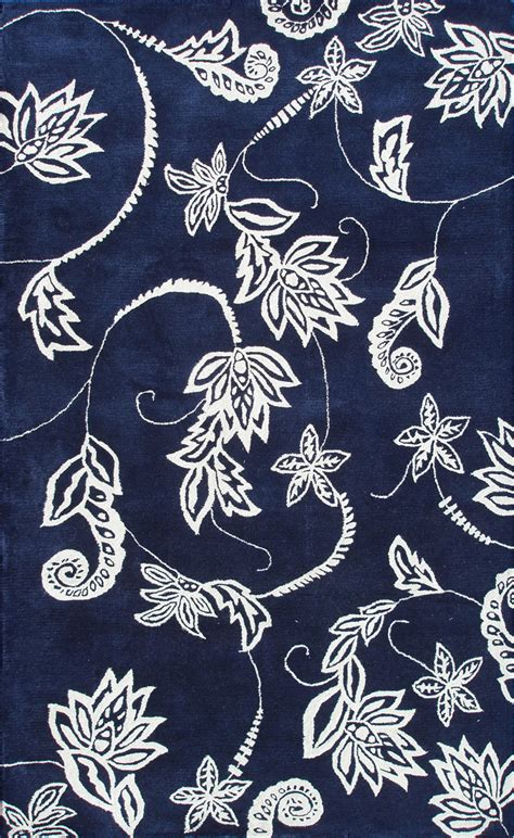 Navy Blue Area Rug 5x7 Modernrugs Classic Gray Traverse Kyoto Floral Modern Rug Cool Calm Color