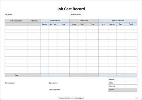 Cost Template cost record template entry bookkeeping