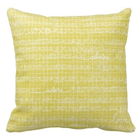 decorative pillows with words yellow love words throw pillow