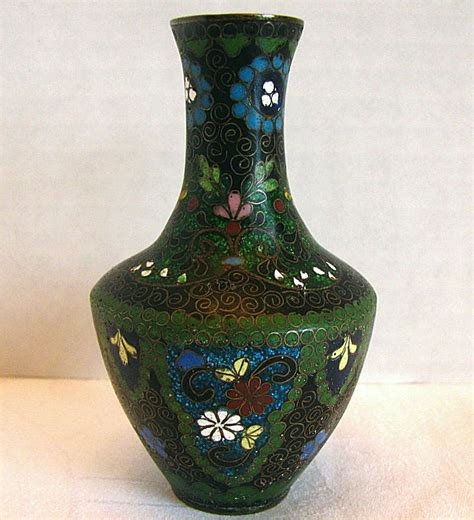 Cloisonne Vase by Japanese Cloisonne Vase With Ginbari Small Antique Meiji Era