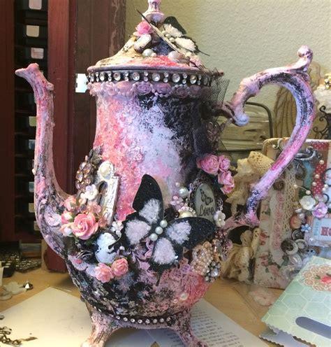 shabby chic tea set altered shabby chic tea pot shabby chic 3