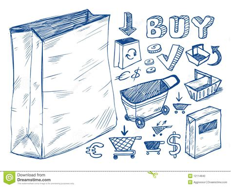 doodle shopping shopping doodles collection stock photo image 12114840