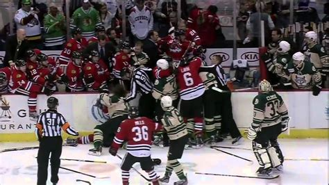 hockey bench clearing brawls bench incident chicago wolves vs rockford icehogs 3 17