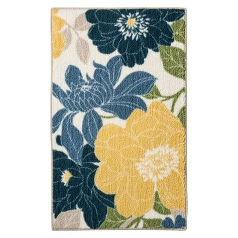 blue and yellow kitchen rugs floral kitchen rug blue threshold target