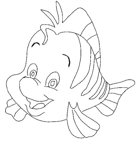 litle mermaid flounder fish animal coloring
