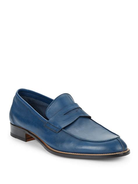 bruno magli mens loafers bruno magli rotzo leather loafers in blue for