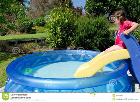 Backyard Blow Up Pools Child In Children Inflatable Pool Stock Image Image