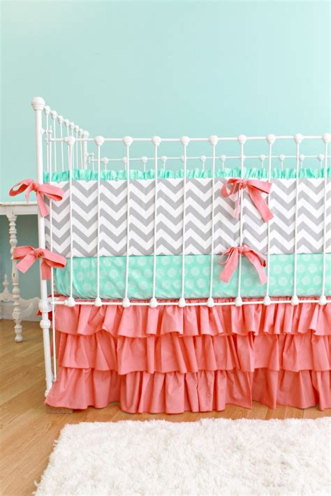 Coral Crib Bedding Chevron Baby Bedding Mint And Coral Coral Chevron Crib Bedding
