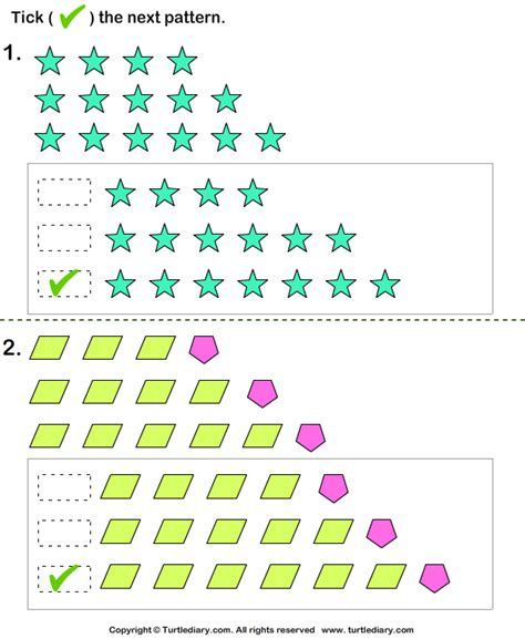 growing pattern using shapes identify the next pattern worksheet turtle diary