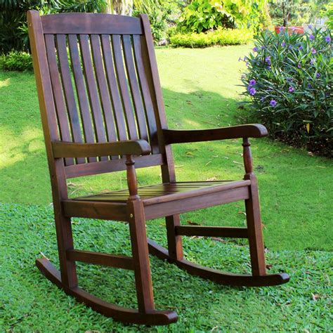 Outdoor Wood Rocking Chair by International Caravan Traditional Stained Acacia Wood Slat