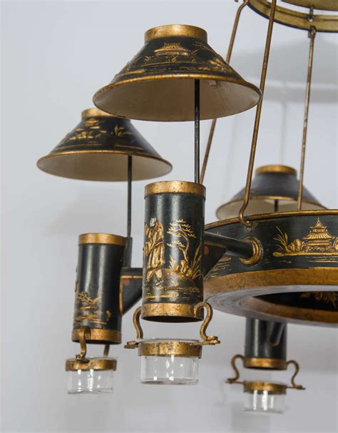 Early 19th Century French Chinoiserie Painted Toleware Toleware Chandelier